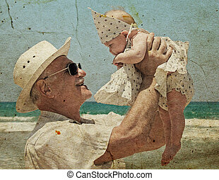 happy grandpa is holding a little granddaughter Background -...