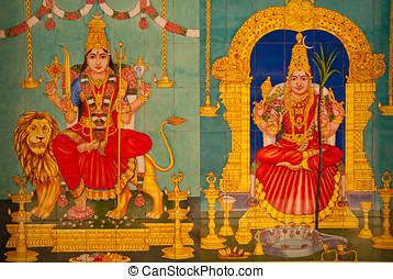 arquitectura, de, hindú, dios