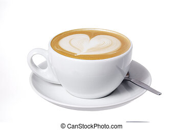 Latte Cup with Heart Design. - Studio shot latte cup with...