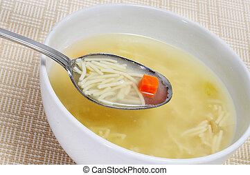 noodle soup - closeup of a bowl with noodle soup
