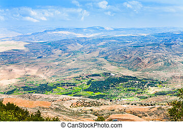 view from Mount Nebo in Jordan - view of Promised Land from...