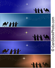 Three kings - Colored banners with three kings