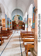 interior of Greek Orthodox Basilica of Saint George in town...