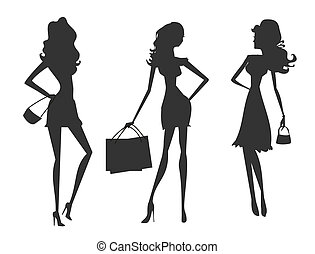 fashion shoppin - Vector fashion shopping girls silhouettes...