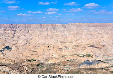 valley of Wadi Al Mujib river and dam, Jordan - panorama...