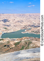valley of Wadi Al Mujib river and dam, Jordan - panorama...