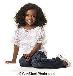 Little pretty African American Girl image isolated against...