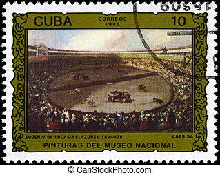 CUBA - CIRCA 1986 Bullfight