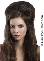 brunette with creative hair styling