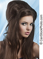 brunette with creative vintage hair style