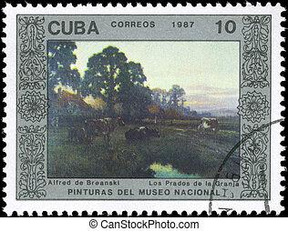 CUBA - CIRCA 1987 Farm Meadows