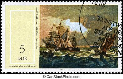 GDR - CIRCA 1982 Seascape - GDR - CIRCA 1982: A Stamp...