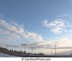 windmills melting snow