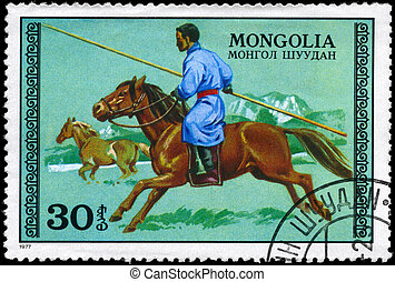 MONGOLIA - CIRCA 1977 Hunter on horseback - MONGOLIA - CIRCA...
