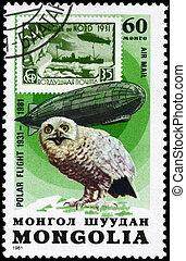 mongolia, -, hacia, 1981, Graf, zeppelin, búho