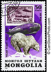 mongolia, -, hacia, 1981, Graf, zeppelin, oso