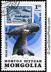 mongolia, -, hacia, 1981, Graf, zeppelin, sello