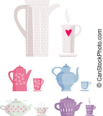 kettle and cup of tea - vector set of kettle and cup of tea