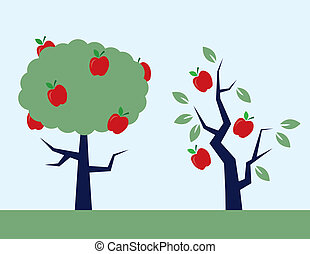 Apple Trees - Apple trees. One full of leaves, and one...