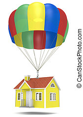 Foreclosure. - House hanging from a parachute.