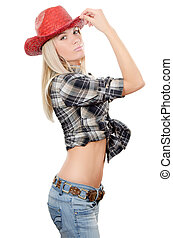 The beautiful girl in a cowboys hat isolated - The beautiful...