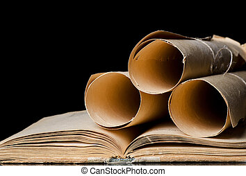 Many ancient scrolls and old books - Many ancient scrolls...