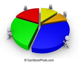 Five people complete pie chart - Five 3d people are pushing...
