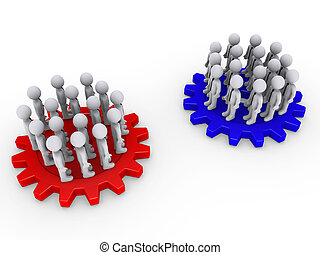 Two opposing teams on cogwheels - Many 3d people as two...