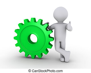 Happy person holding cogwheel - 3d person holding a green...