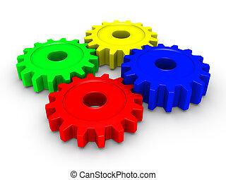 Four colored cogwheels - Four 3d colored cogwheels