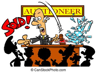 Auctioneer.WBG - Cartoon auctioneer selling smashed vase....