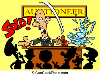 Auctioneer - Cartoon auctioneer selling smashed vase