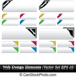 The Vector Colored  Corner Ribbon Set