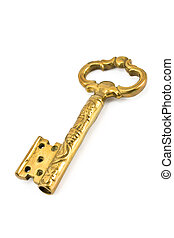Antique golden key isolated on white