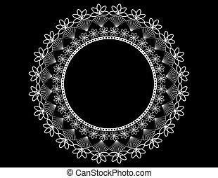 Round Lace Doily on Black
