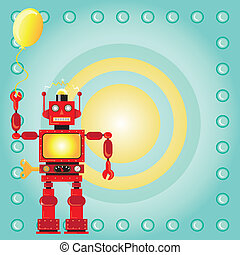 Robot Birthday Party Invitation with red wind-up robot...