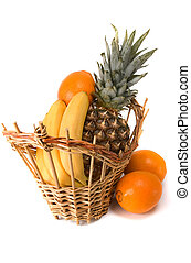 basket with fruits on white background