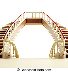 Wooden ladder in classical style on a white background