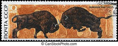 USSR - CIRCA 1969 Bison - USSR - CIRCA 1969: A Stamp printed...