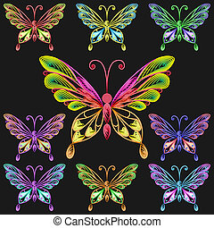 vector set colorful butterflies