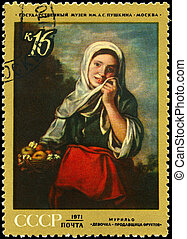 USSR - CIRCA 1971 Girl with Fruit