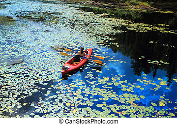 People canoeing - High angle view of the people canoeing and...
