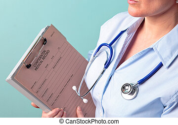 Female doctor holding medical record - Photo of a female...