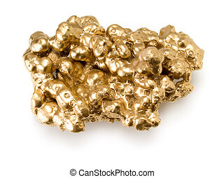 Gold nugget. - Gold nugget isolated on white background.