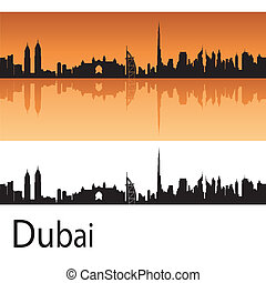 Dubai skyline in orange background in editable vector file