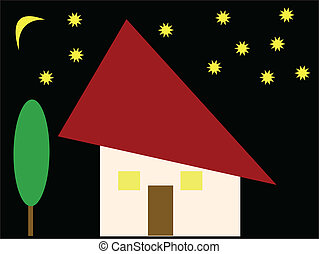 House illustration - Houses in the starry night - vector