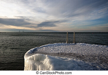 ice covered jetty