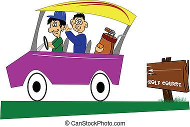 going golfing - two men in car going golfing over white...