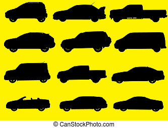 Cars silhouettes - Various city cars silhouettes isolated on...