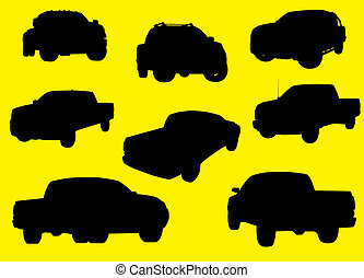Pick-up trucks silhouettes isolated on yellow background.